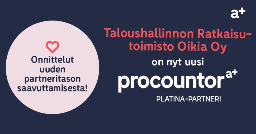 Procountor Platina-partneri: Taloushallinnon Ratkaisutoimisto Oikia Oy