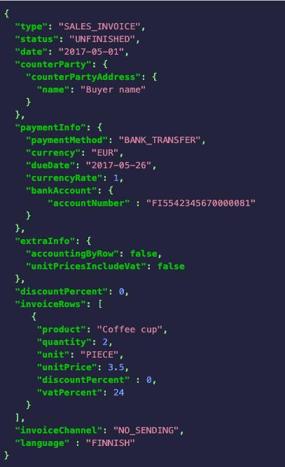 Procountor API request example